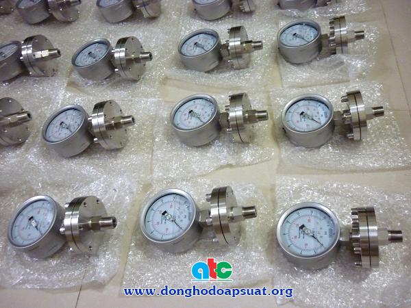 Đồng hồ đo áp suất màng Wika dạng mặt bích, vật liệu inox 316