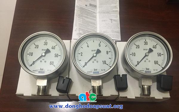 Đồng hồ áp suất Wika với vỏ inox 316 và mặt kinh safety glass