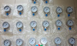 Đồng hồ đo áp suất khí nén, vỏ inox 100%, không dầu