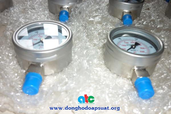 Đồng hồ đo áp suất khí nén inox 316, hàn kín