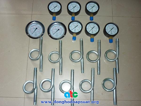 Đồng hồ đo áp suất Nisshin, áp kế Badotherm và ống xy phông kẽm