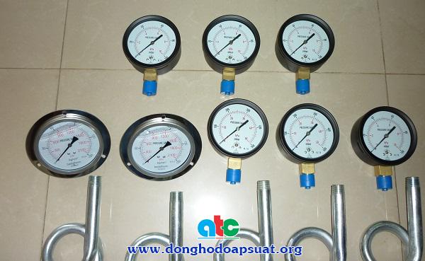 Đồng hồ áp suất Badotherm Holland chân sau, có dầu