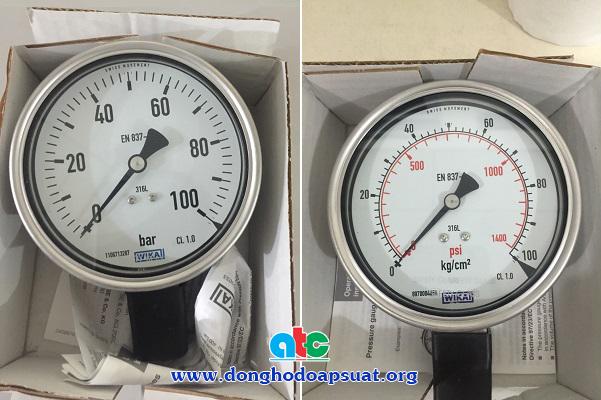 Đồng hồ đo áp suất Wika cùng model 232.50 với 2 loại đơn vị đo khác nhau