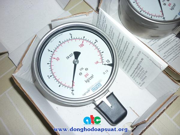 Đồng hồ áp suất Wika 232.50 loại 10kg/cm2, mặt kính 100mm, và chân ren 21mm