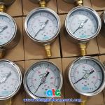 Đồng hồ đo áp suất Yamaki dùng dầu chống rung hoặc không, vỏ inox chân đồng