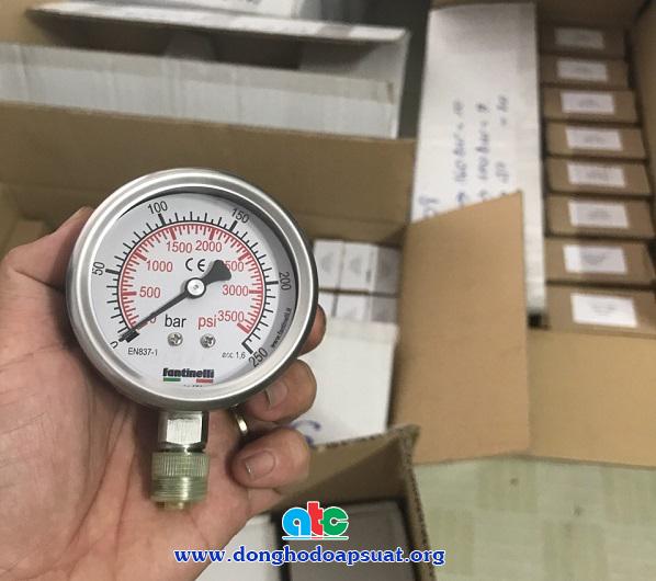 Đồng hồ đo áp suất Fantinelli mặt kính 63mm, chân ren đứng full inox, dong ho do ap suat gia re