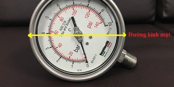 Đường kính mặt đồng hồ đo áp suất nước Fantinelli - Ý