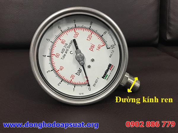 Đường kính chân ren kết nối đồng hồ đo áp suất nước