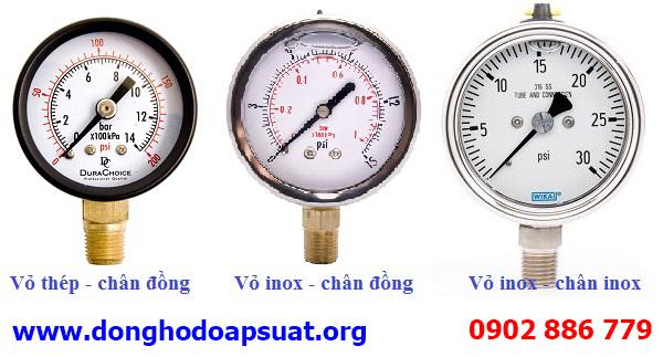 Vật liệu cấu tạo đồng hồ đo áp suất nước các loại