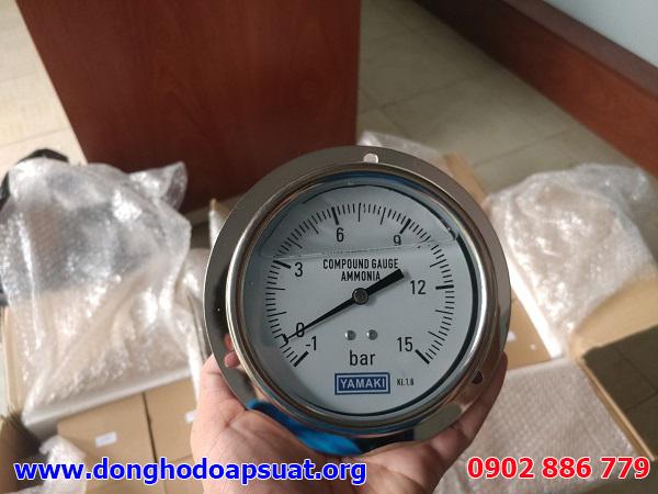 Đồng hồ đo áp suất chân không Yamaki, chân sau, vật liệu inox