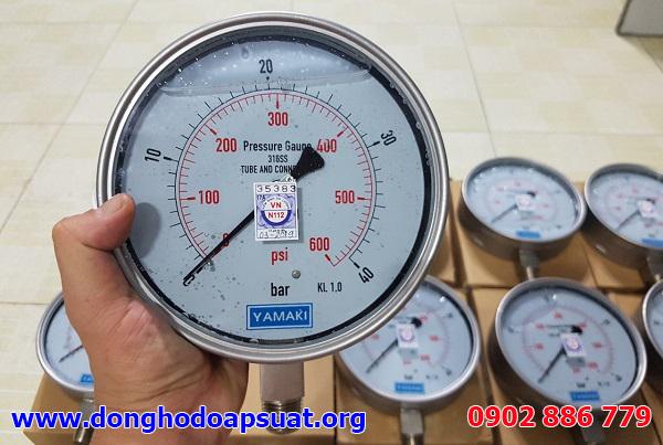 Đồng hồ đo áp lực dầu phi 160mm (150mm hay 6 inch) full inox