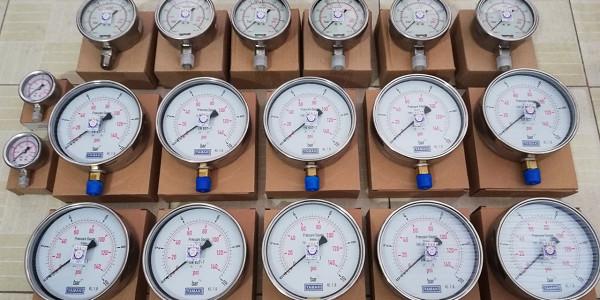 Đồng hồ đo áp suất Yamaki mặt kính 150mm và Fantinelli 100mm, vỏ inox, chân ren bằng đồng