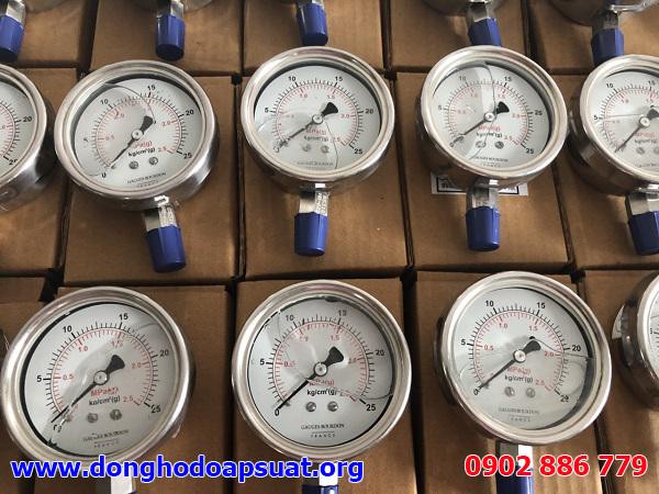 Đồng hồ đo áp suất GB France 0-25kg/cm2 (2.5MPa) đường kính 63mm, inox 316