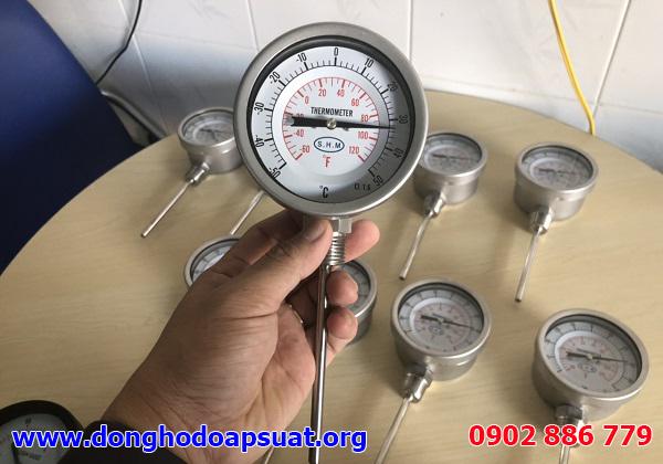 Đồng hồ đo nhiệt độ SHM dạng cơ, chân thẳng, bằng inox 304