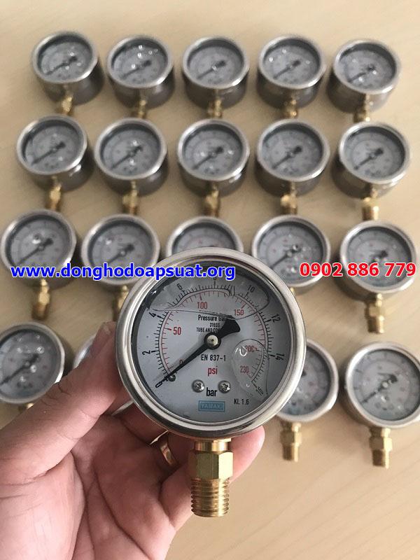 Đồng hồ đo áp suất Yamaki 0-16bar, phi63mm, ren 13mm, chân đứng