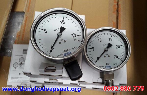 Đồng hồ đo áp suất nước Wika - Đức với 1 thang đó là bar và maximum tương ứng 15bar, 25bar