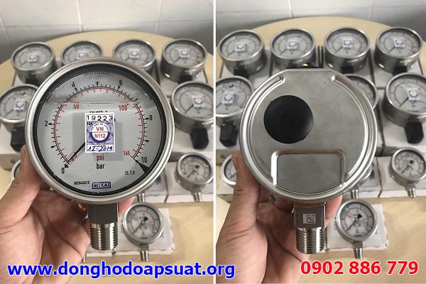 Đồng hồ đo áp suất nước của hãng Wika, loại có 2 đơn vị đo là psi và bar
