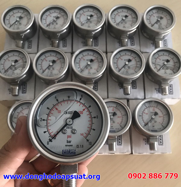 Đồng hồ áp suất Wika 232.50 0-10bar, mặt kính 63mm, ren 13mm NPT, inox 316, có dầu chống rung